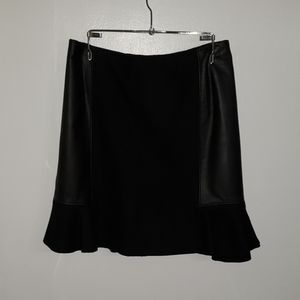 Madewell Leather and Wool Fluted Skirt